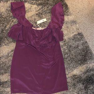 100% silk. On/off shoulder, purple dress